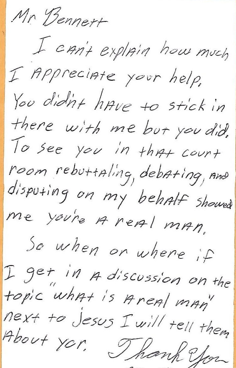 Attorney help testimonial for William B. Bennet, P.A., attorney at law in St. Petersburg, Florida.