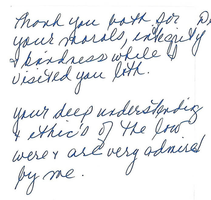 A lawyer with morals testimonial given to William B. Bennett, P.A., attorney at law in St. Petersburg, Florida
