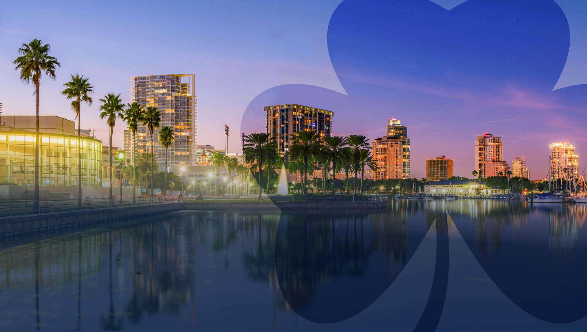 St. Petersburg, Florida skyline at night